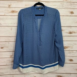 Rose & Olive Blue Patterned Popover Career Blouse